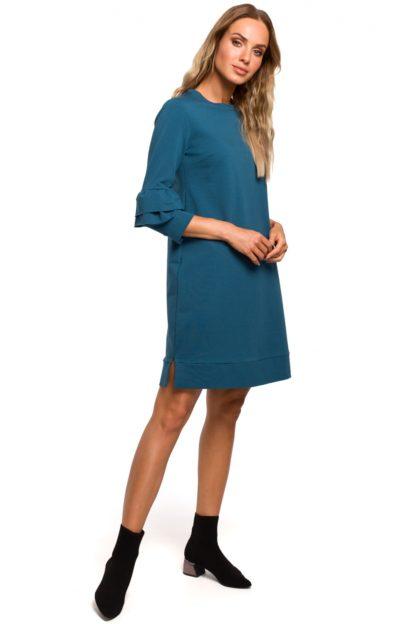 Trapezowa sukienka z falbankami niebieska