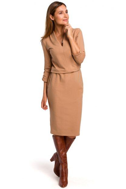 Sukienka midi z bawełny brązowa