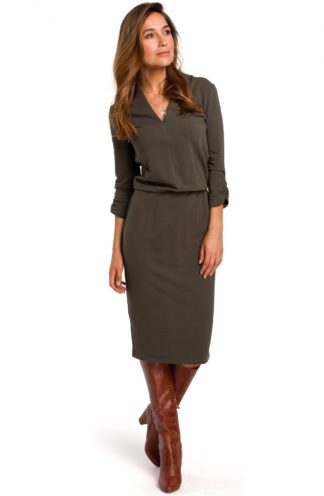 Sukienka midi z bawełny khaki