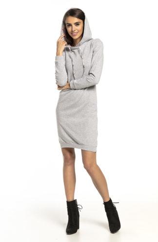 Sportowa sukienka z kapturem jasny szary