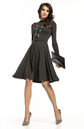 Elegancka sukienka z golfem ciemny szary