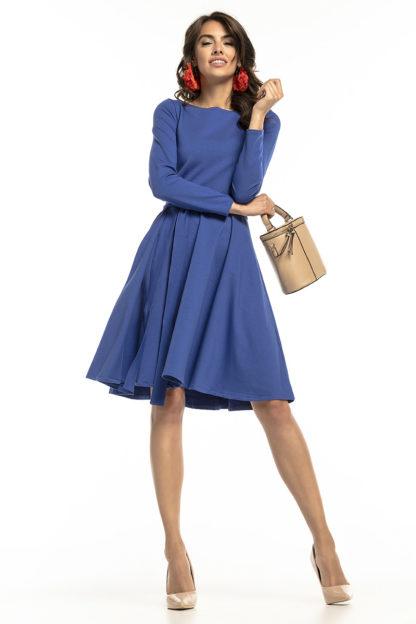 Wizytowa sukienka z wiązaniem niebieska