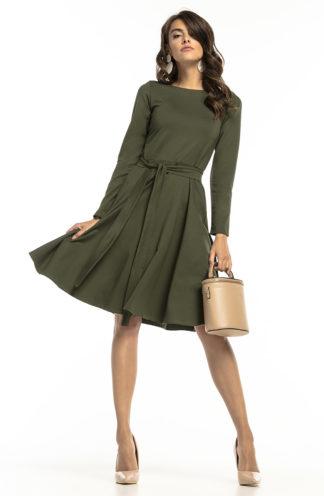 Wizytowa sukienka z wiązaniem zielona