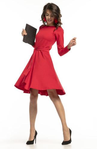 Sukienka z rękawem i wiązaniem czerwona