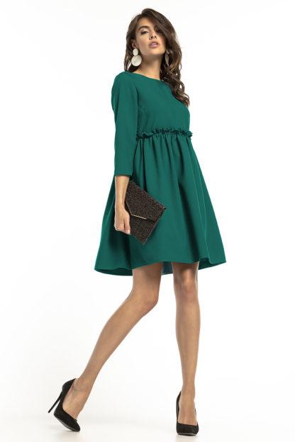 Sukienka z drapowaniem i rękawem zielona