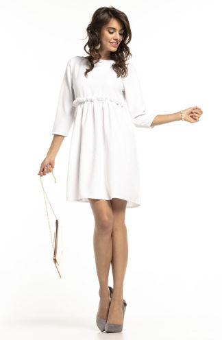 Sukienka z drapowaniem i rękawem biała