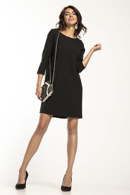 Trapezowa sukienka z rękawem czarna