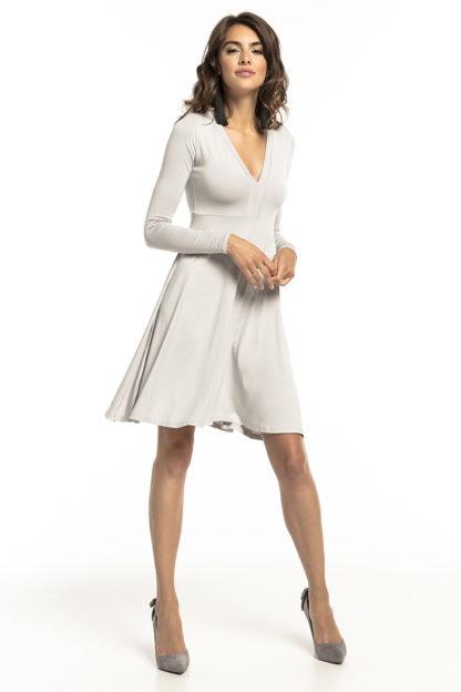 Sukienka z dopasowaną górą jasny szary