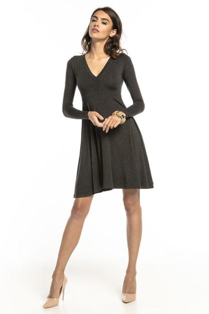 Sukienka z dopasowaną górą ciemny szary