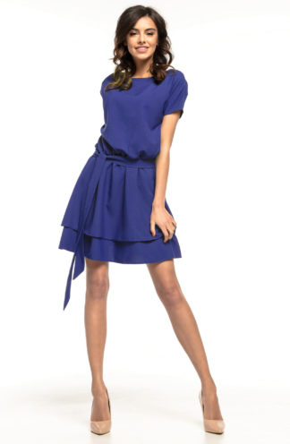 Sukienka z podwójną spódnicą granatowa