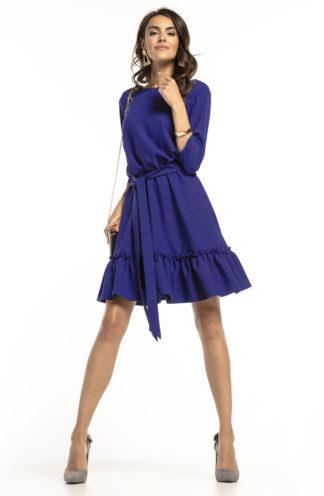 Sukienka mini z wiązaniem granatowa