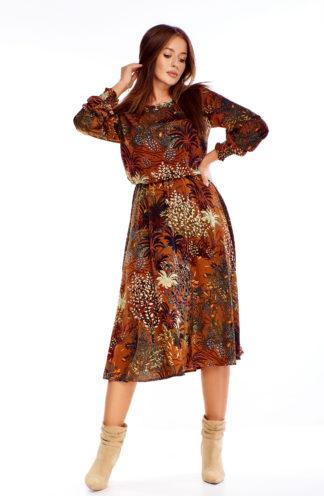 Sukienka midi w jesienne wzory