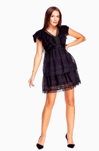 Wieczorowa sukienka z koronki czarna