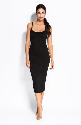 Wieczorowa dopasowana sukienka midi czarna