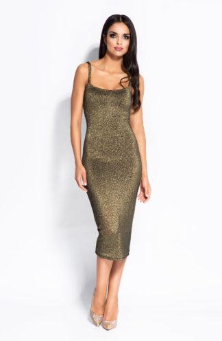 Wieczorowa sukienka midi złota