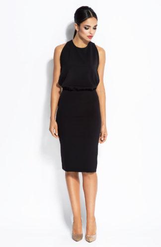 Ołówkowa sukienka z łańcuszkiem czarna