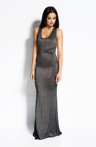 Dopasowana długa sukienka srebrna
