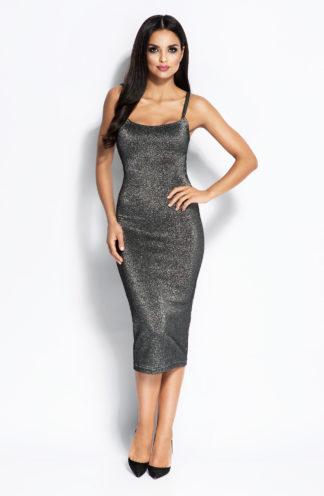 Wieczorowa sukienka midi srebrna