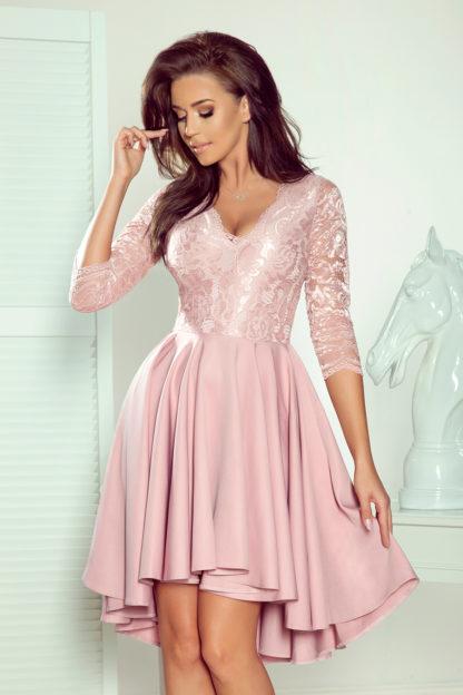 Sukienka na wesele z koronką różowa