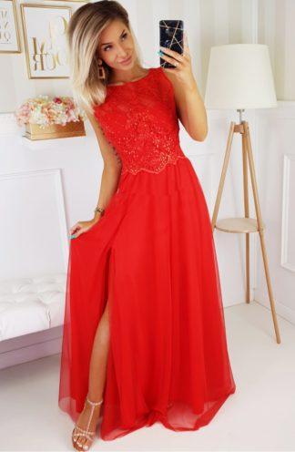 Długa suknia na wesele z haftowaną górą czerwona