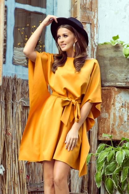 Sukienka nietoperz z rękawami miodowa