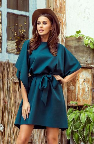 Sukienka nietoperz z rękawami zieleń
