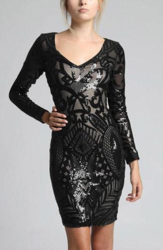 Sukienka z błyszczącej tkaniny czarna