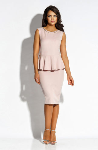 Elegancka sukienka midi z baskinką różowa