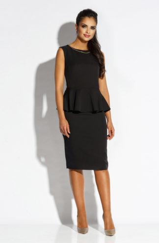 Elegancka sukienka midi z baskinką czarna