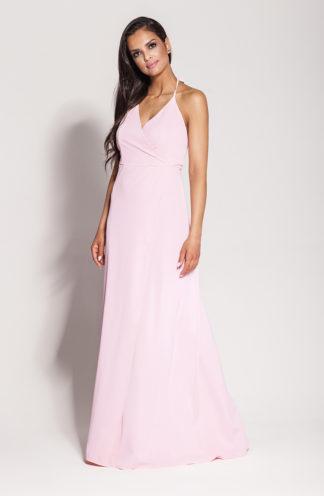 Długa suknia z rozcięciem i wiązaniem różowa