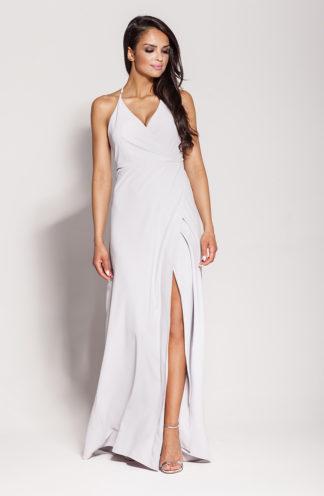 Długa suknia z rozcięciem i wiązaniem szara