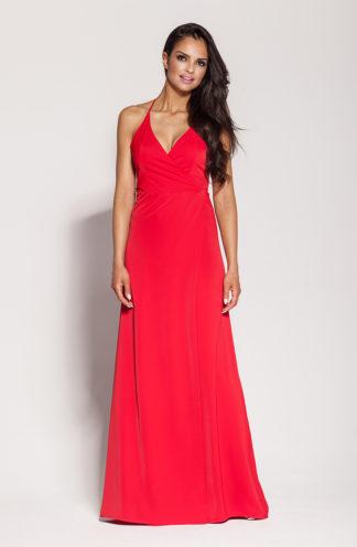 Długa suknia z rozcięciem i wiązaniem czerwona