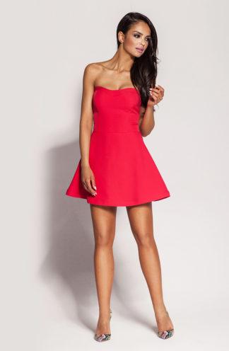 Gorsetowa mini sukienka malinowa