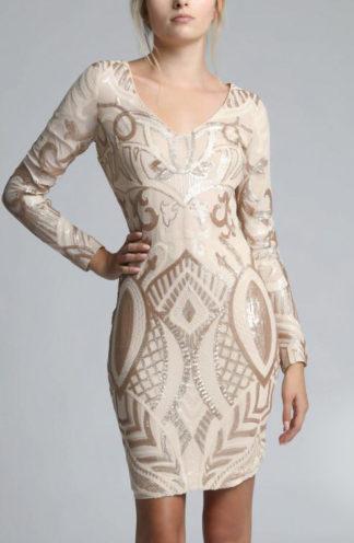 Sukienka z błyszczącej tkaniny beżowa
