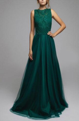 Ekskluzywna długa suknia butelkowa zieleń