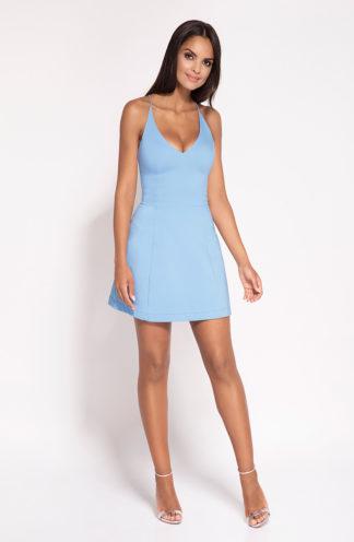 Mini sukienka z dekoltem niebieska