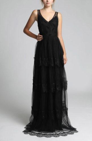 Długa suknia z falban czarna