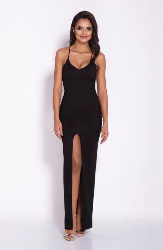 Długa sukienka z dekoltem i rozcięciem czarna