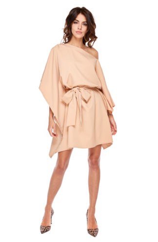 Sukienka nietoperz z wiązaniem brąz