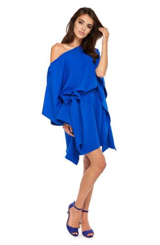 Sukienka nietoperz z wiązaniem chabrowa