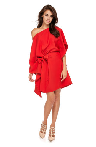 Sukienka nietoperz z wiązaniem czerwona