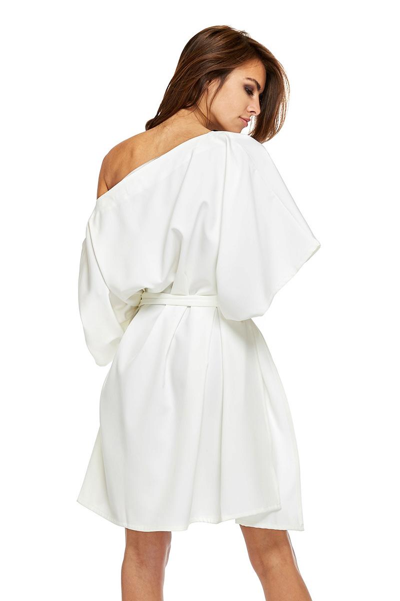 Sukienka nietoperz z wiązaniem biała