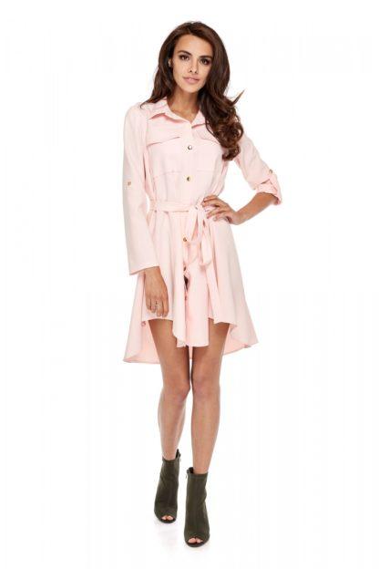 Wiązana sukienka z guzikami róż