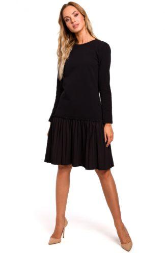Sukienka z plisowaną falbaną czarna
