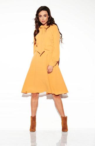 Sukienka z wiązaniem przy szyi jasny brąz