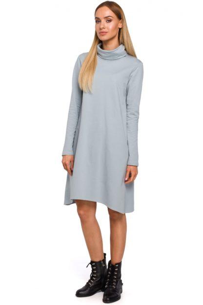 Asymetryczna sukienka z golfem szara