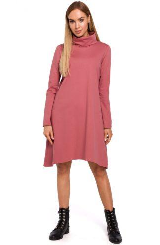 Asymetryczna sukienka z golfem różowa