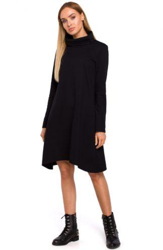 Asymetryczna sukienka z golfem czarna