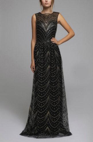 Błyszcząca suknia maxi czarna