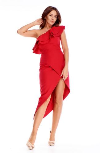 Asymetryczna sukienka na jedno ramię czerwona